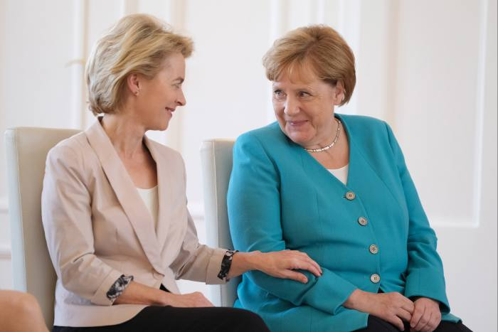 Ursula von der Leyen with German chancellor Angela Merkel, in 2019. Many think the relationship between the two women helped secure German backing for the €750bn European recovery package that she announced in July