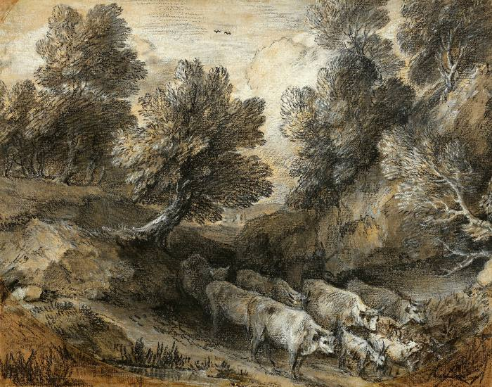 'Wooded Landscape with Cattle and Goats' by Thomas Gainsborough (c1772)