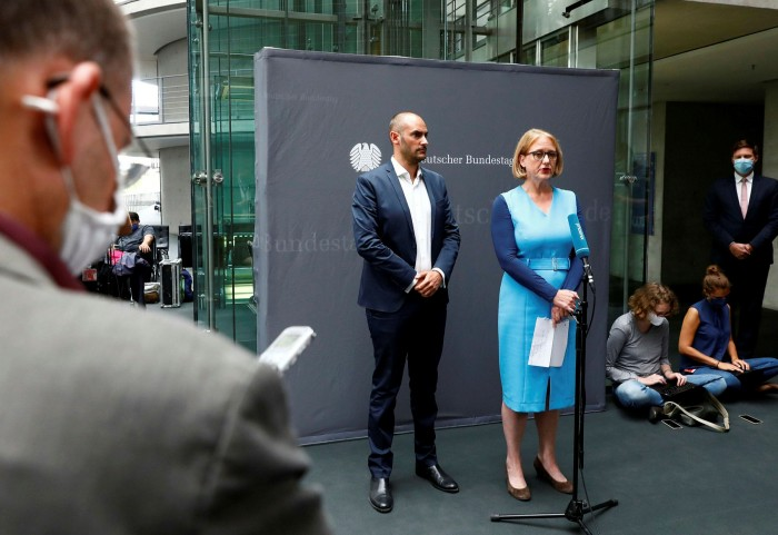 Germany's Green party Bundestag Member Danyal Bayaz and Lisa Paus of the Green party, give a statement to the media after an extraordinary meeting on the Wirecard scandal held by parliament's financial committee last September