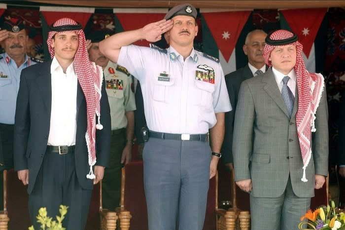 King Abdullah of Jordan, right, and Prince Hamzah bin Hussein, left, in 2004 — the year that Hamzah was stripped of his role as crown prince © Alamy