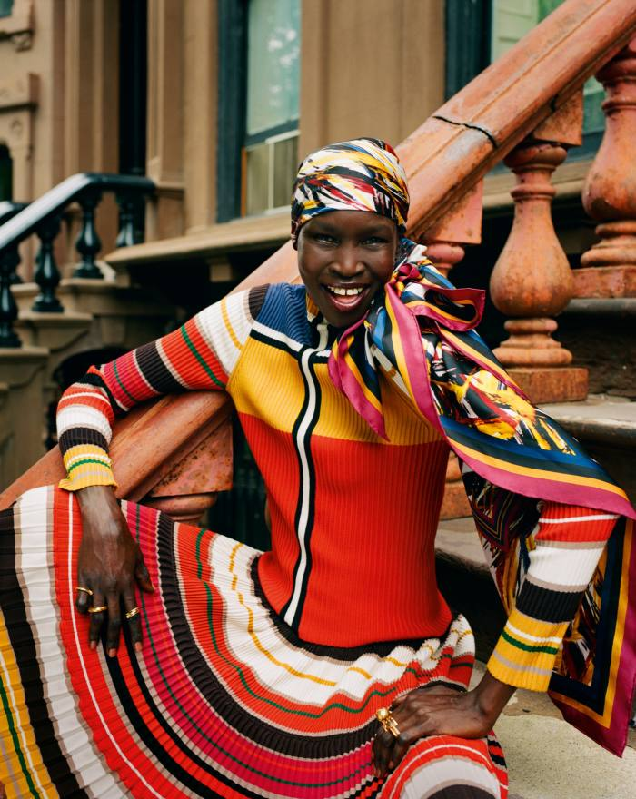 Weekend Max Mara: A.W.ORLD by Alek Wek viscose top, £230, viscose skirt, £350, and silk twill headscarf, £115. Bottega Veneta gold and silver rings, £685 each. Alighieri gold-plated silver The Moon Shine ring, £395, The Trembling Bough ring, £225, The Better Craftsman ring, £395, and The Beginning of the Plait ring, £250