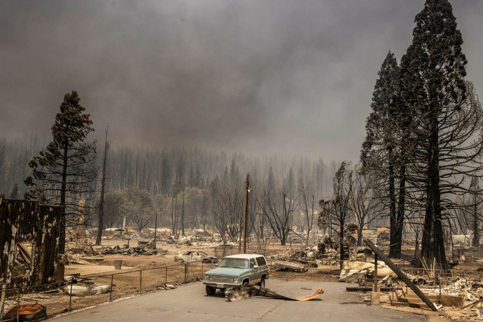 The smoking remains of the town of Greenville, California, after wildfires on August 5