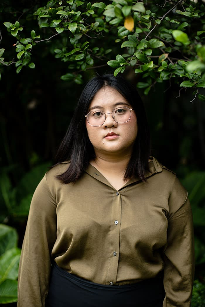 Jutatip 'Ua' Sirikhan, leader of the Thai Students' Union. When arrested by the police she read aloud from Thomas Paine and livestreamed the incident on Facebook