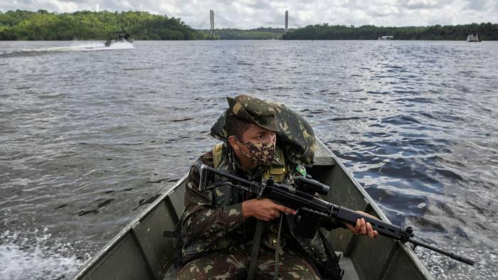 A Brazilian soldier on patrol in Amapá state