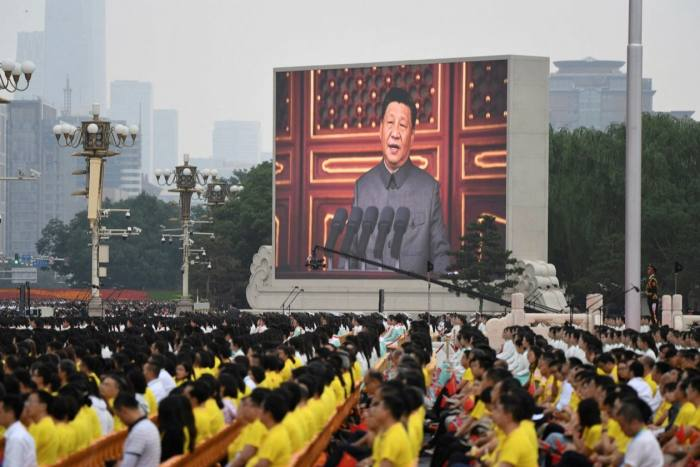 The screen on Tiananmen Square in Beijing shows a speech by President Xi Jinping at a celebration celebrating the founding of the Chinese Communist Party © Wang Zhao/AFP via Getty Images