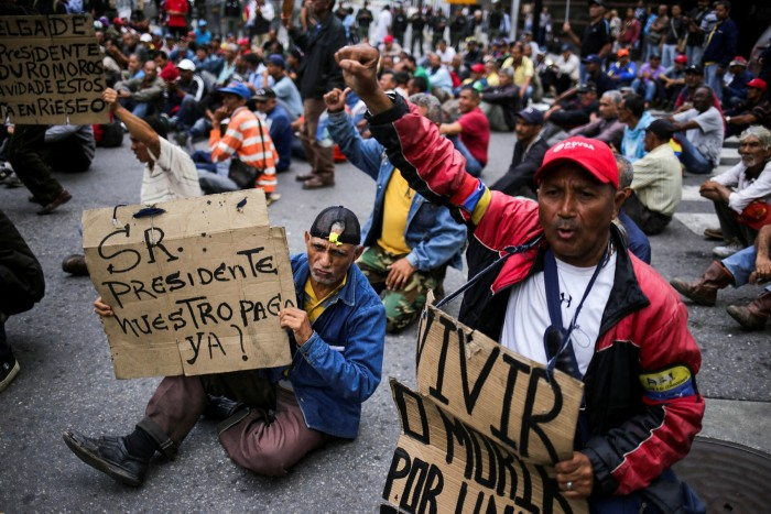 Former oil workers demonstrate in Caracas. Between 2007 and 2013, the China Development Bank lent Venezuela nearly $40bn