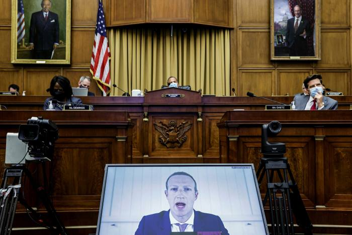 Facebook CEO Mark Zuckerberg testifies before the House Judiciary Subcommittee on Antitrust, Commercial and Administrative Law in Washington, D.C. on July 29