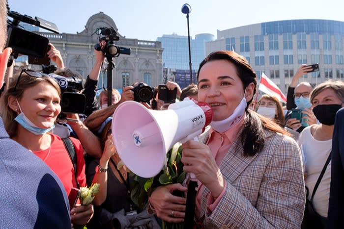 Exiled opposition leader Sviatlana Tsikhanouskaya at a protest outside the European Parliament in Brussels, Belgium, in September 2020
