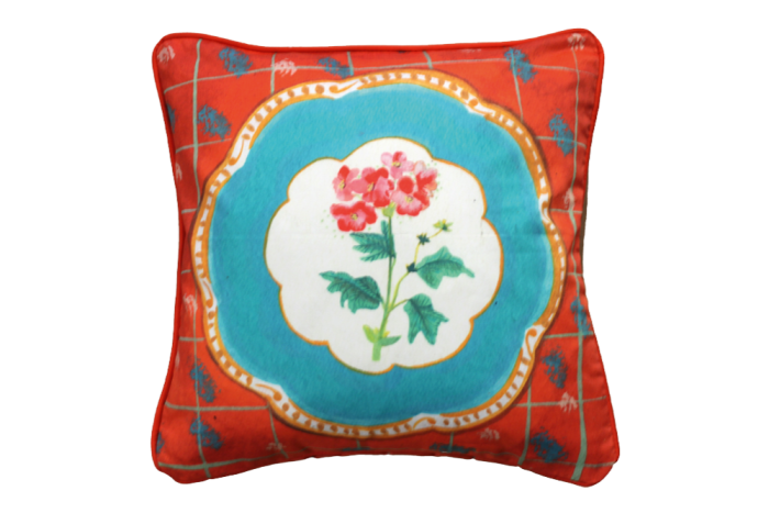 """Geranium Cutting"" cushion cover by Unity Coombes, £75, theshopfloorproject.com"