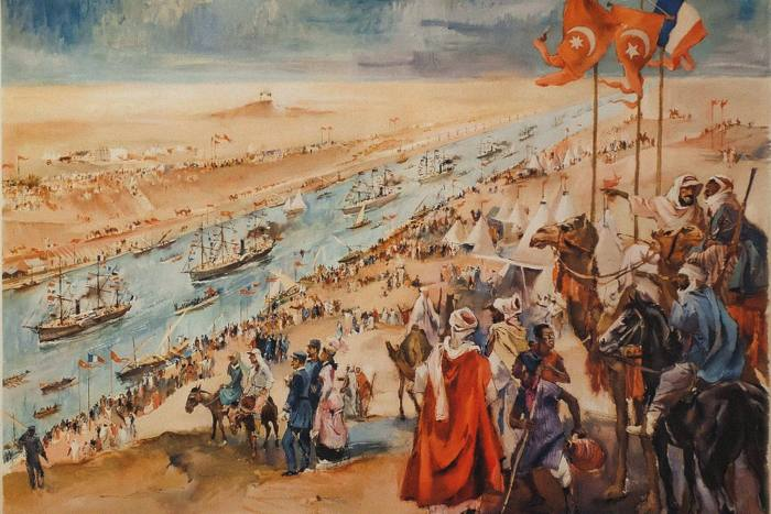 An artwork showing the inauguration ceremony of the Suez Canal at Port-Said,  November 17 1869