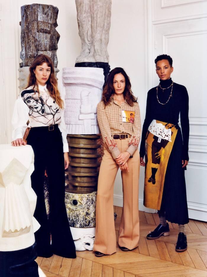 From left: Sigrid Bouaziz wears Chloé Les Filles shirt, £1,890, trousers, £940, and Franckie belt, POA. Pauline Klein wears Chloé Desert Dust shirt, £2,460, trousers, £940, Franckie belt, POA, and Franne shoes, POA. Phoebe Collings-James wears Chloérollneck, £620, Les Mannequins skirt, £2,270, Franne shoes, POA, and socks, POA. Jewellery, throughout, by Chloé, all POA