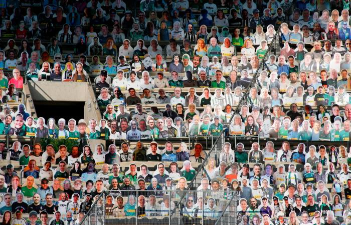Cutouts of football fans at last month's Bundesliga game between Borussia Mönchengladbach and Wolfsburg.