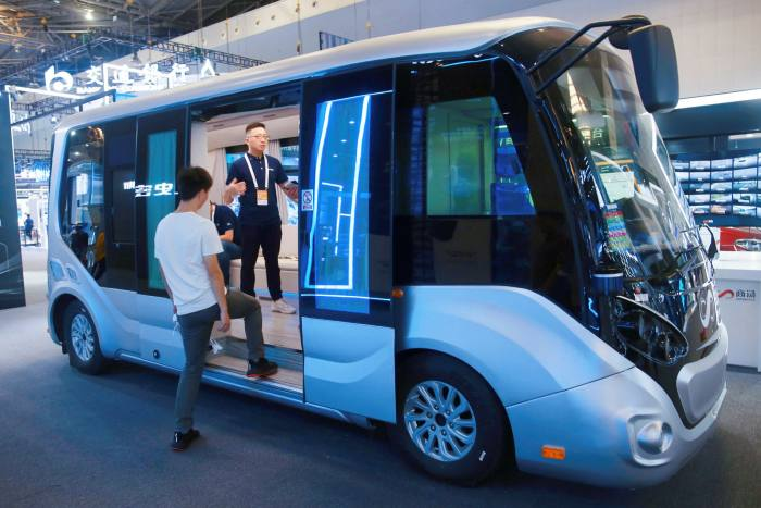 A driverless AR bus and intelligent AI engine developed by SenseTime