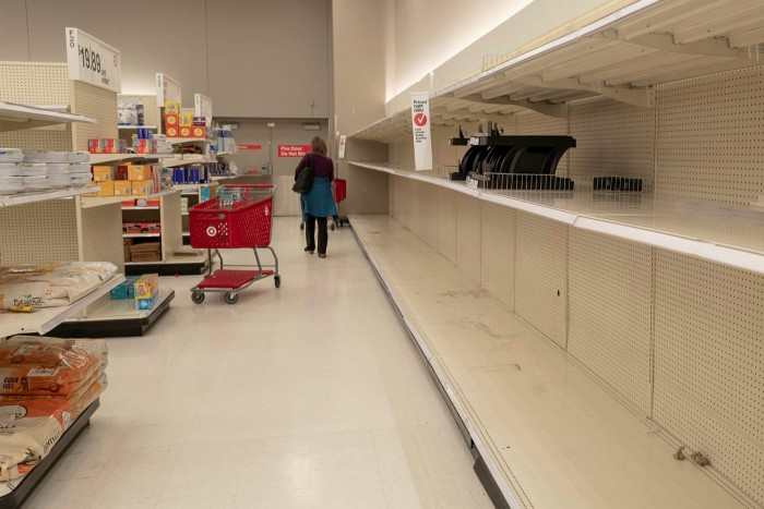 Empty shelves at a Target retail store in San Ramon, California in March last year at the start of the Covid-19 pandemic