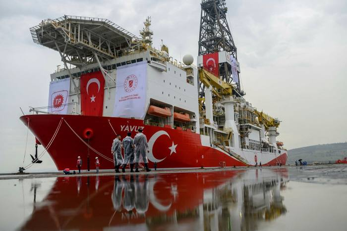 The drilling ship 'Yavuz' scheduled to search for oil and gas off Cyprus, at the port of Dilovasi, outside Istanbul, in June last year