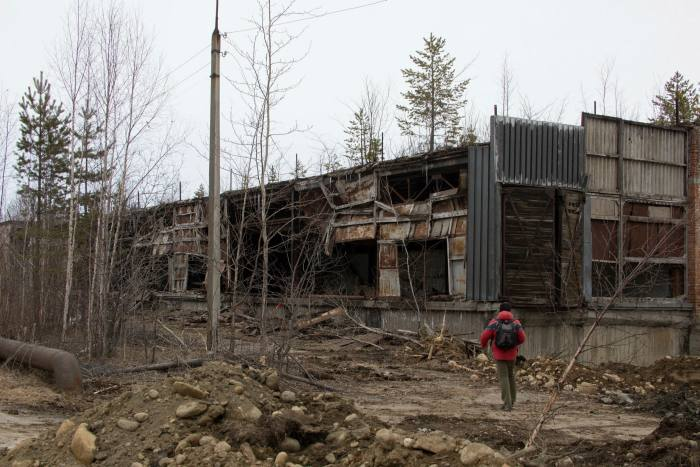 Disused paper mill on southern tip of Lake Baikal