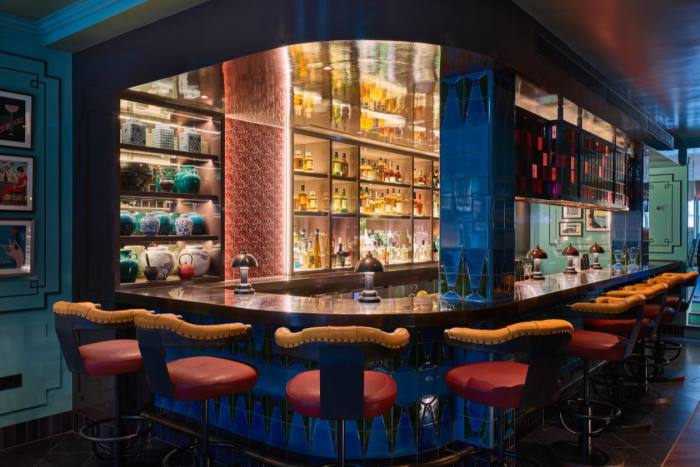 The Sir Frank Bar, a highlight of Beaverbrook Town House in London's Chelsea district