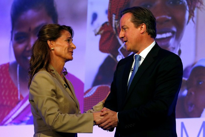 Melinda Gates with then UK Prime Minister David Cameron at the 2012 London Summit on Family Planning, which she chaired. It was a defining moment in her emergence as a public figure
