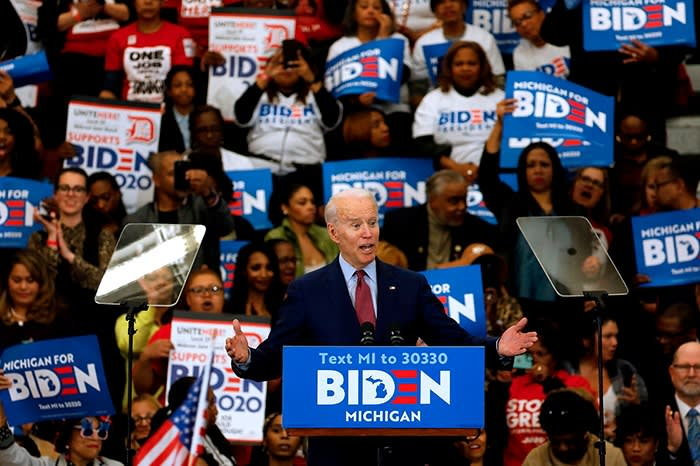 Speaking during a campaign rally at a school in Detroit, Michigan, in March; Biden's language has changed little in 50 years, but his anachronisms are popular among fans