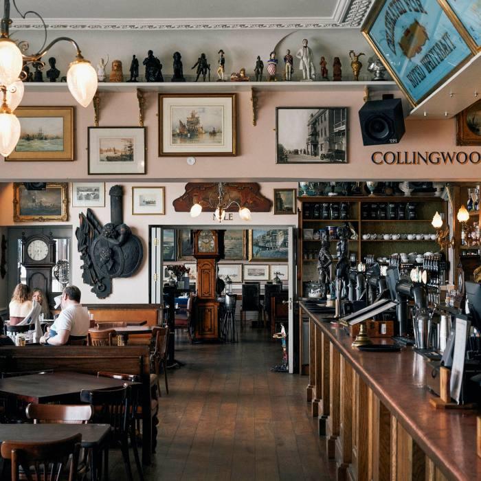 The interior is festooned with nautical memorabilia and art celebrating British naval heritage