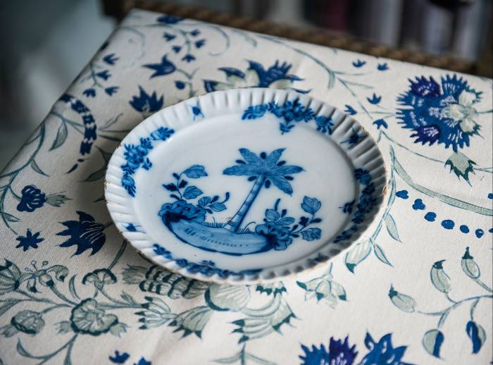 Lytle's 18th-century Delft plate, from The Lacquer Chest