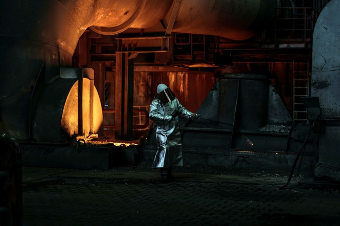 A blast furnace at the Thyssenkrupp metals plant in Duisburg, Germany. Under the EU's emissions trading scheme, the cost of polluting has risen by 60% In the past year for heavy industries