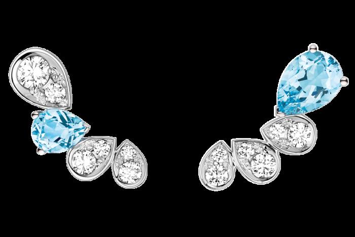 White-gold, diamond and aquamarine Joséphine Ronde d'Aigrettes earrings,£4,430
