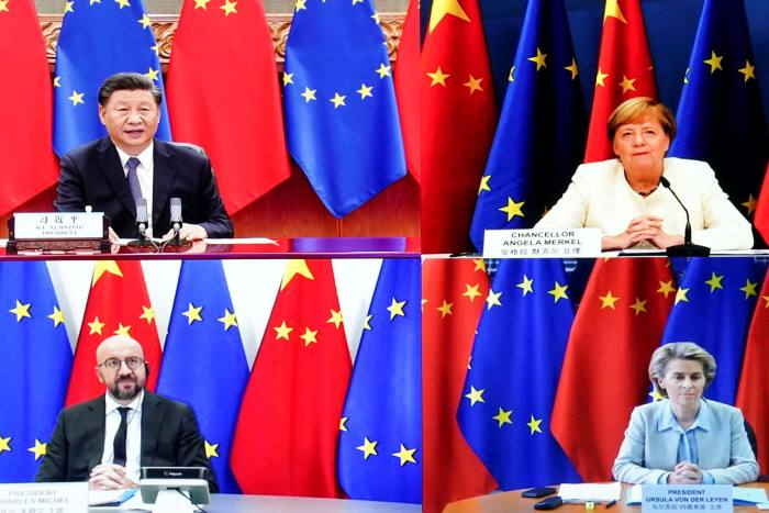 Clockwise from top left: Chinese president Xi Jinping, German chancellor Angela Merkel, European Commission president Ursula von der Leyen and European Council president Charles Michel take part in a meeting via video link on Monday
