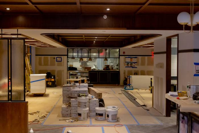 The restaurant's private dining room under construction in August