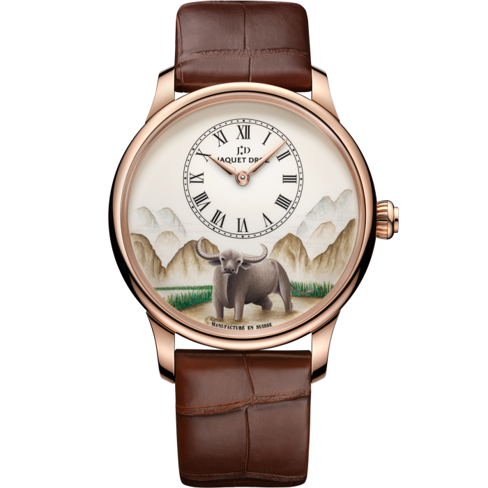 Jaquet Droz Ateliers d'Art collection Petite Heure Minute Buffalo: ivory Grand Feu enamel dial with miniature painting in 18ct red-gold case, £33,050. Limited edition of eight