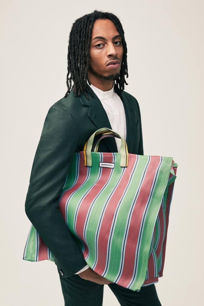 Kota Market Bag, £ 45, and Chela Linen Jacket in Nairobi Green, £ 295