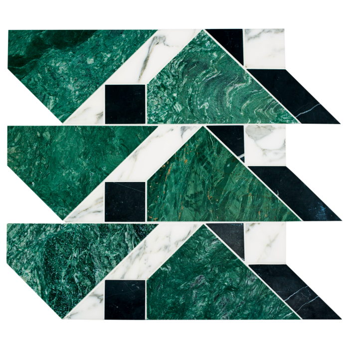 Kelly Wearstler marble Lafayette Small mosaic tiles from the Liaison collection, from $59.95 per sq ft, from Ann Sacks