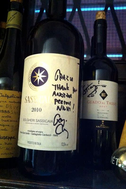 The Sassicaia bottle signed by George Clooney at Da Ivo, Venice