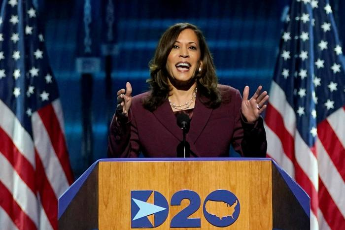 Kamala Harris speaks during the third day of the Democratic National Convention on Wednesday