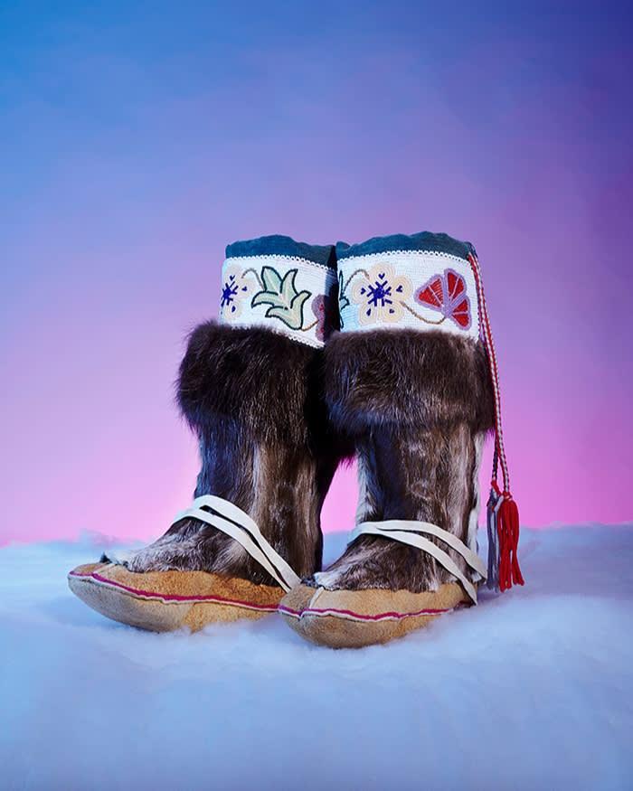 Gwich'in decorated moose-hide boots; Venetie, Alaska, US. 1993