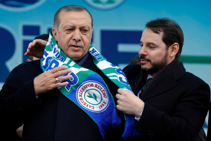 Recep Tayyip Erdogan (left) and his son-in-law Berat Albayrak at a rally in 2017.  Albayrak, who was energy minister at the time, was appointed finance minister the following year