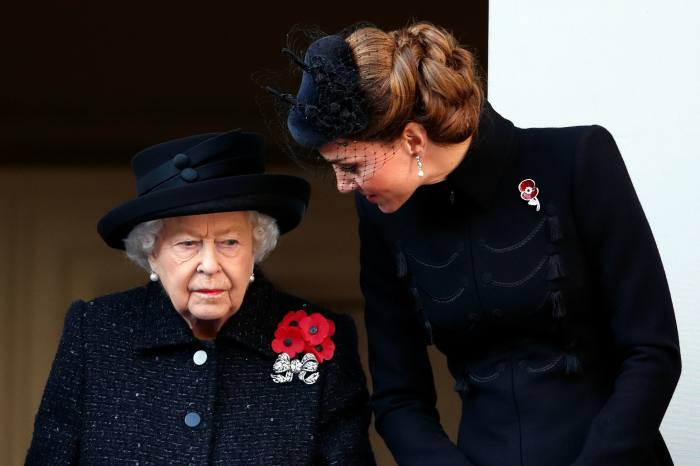 Queen Elizabeth II and Catherine, Duchess of Cambridge, at the Remembrance Sunday service at the Cenotaph, 10 November, 2019