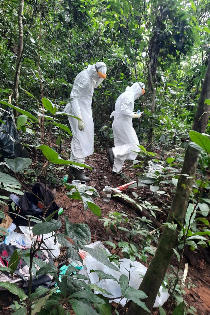 Researchers in the Dzanga-Sangha reserve in full protective clothing making their way to a necropsy site