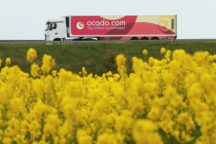 An Ocado lorry is driven along the M25 motorway near London Colney in Hertfordshire