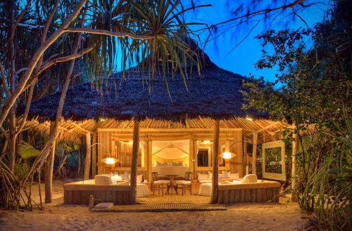 Beachside bungalows on Mnemba Island