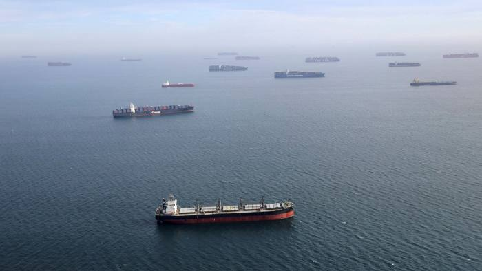 Container ships and oil tankers outside Long Beach