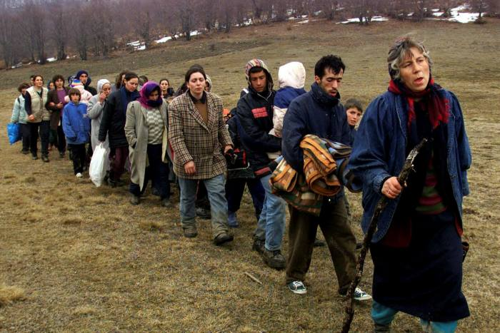 Kosovo Albanian refugees flee the war in Kosovo in 1999, which led to Nato's bombing of Yugoslavia