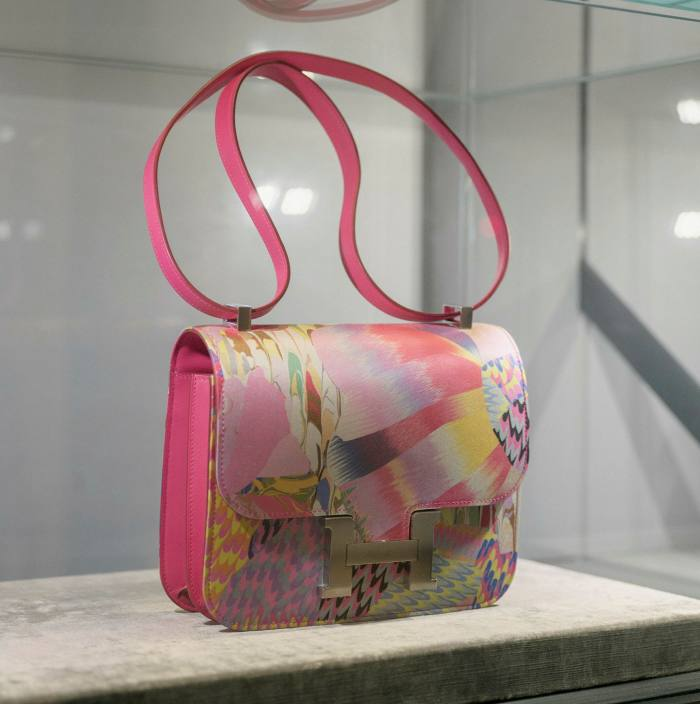 A limited edition Hermès Constance bag in quick leather and marble silk