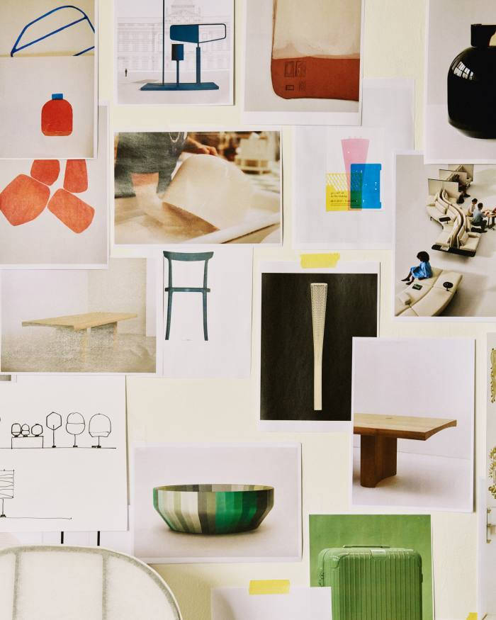 Images of projects on one of the Barber Osgerby studio walls