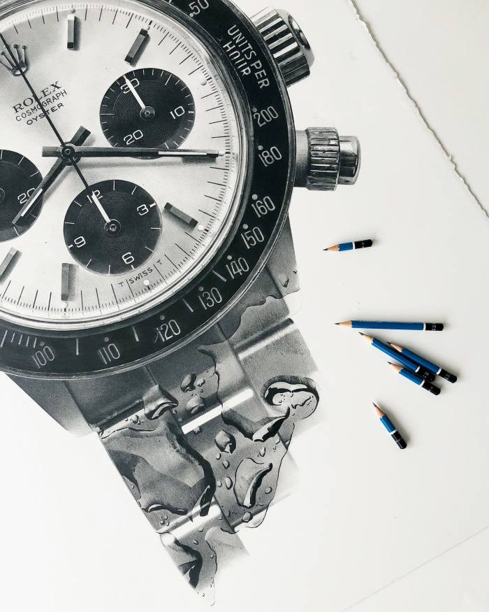 Kraulis's drawing of the Rolex Oyster Sotto