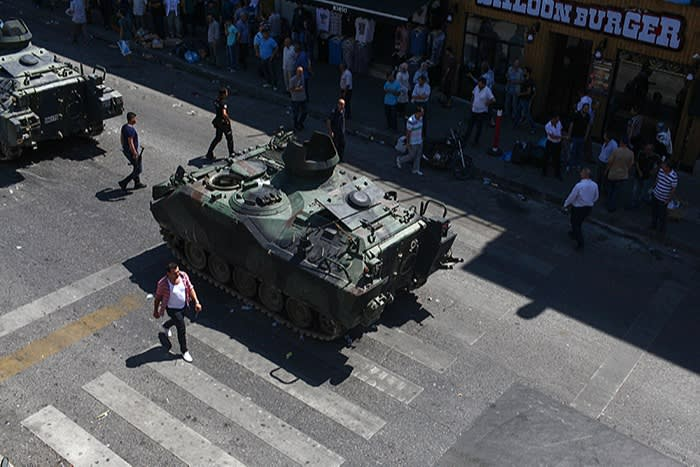 A tank is abandoned after a failed army coup in 2016