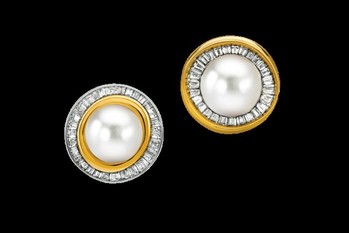 Emilia Wickstead & Jessica McCormack diamond andpearl Eclipse earrings, £25,000