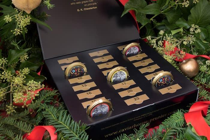 Caviar House & Prunier's calendar has 24 tins of caviar