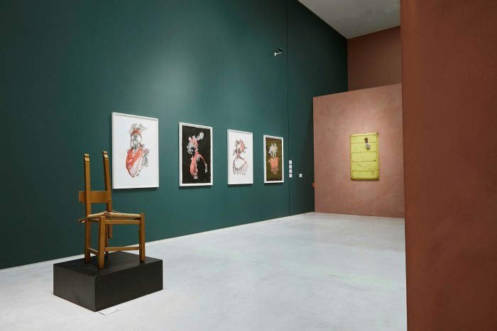 'Ubuntu' exhibition at the National Museum of Contemporary Art in Athens featuring works, from left, by Rashid Johnson, Taiye Idahor and Hank Willis Thomas