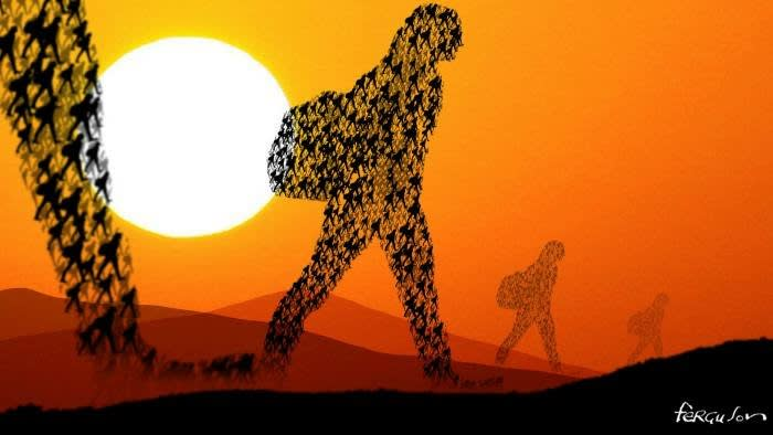 Illustration of people walking with a large sun in the sky